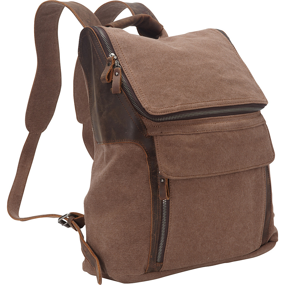 Vagabond Traveler Hiking Sport Cowhide Leather Cotton Canvas Backpack Coffee Brown Vagabond Traveler Everyday Backpacks