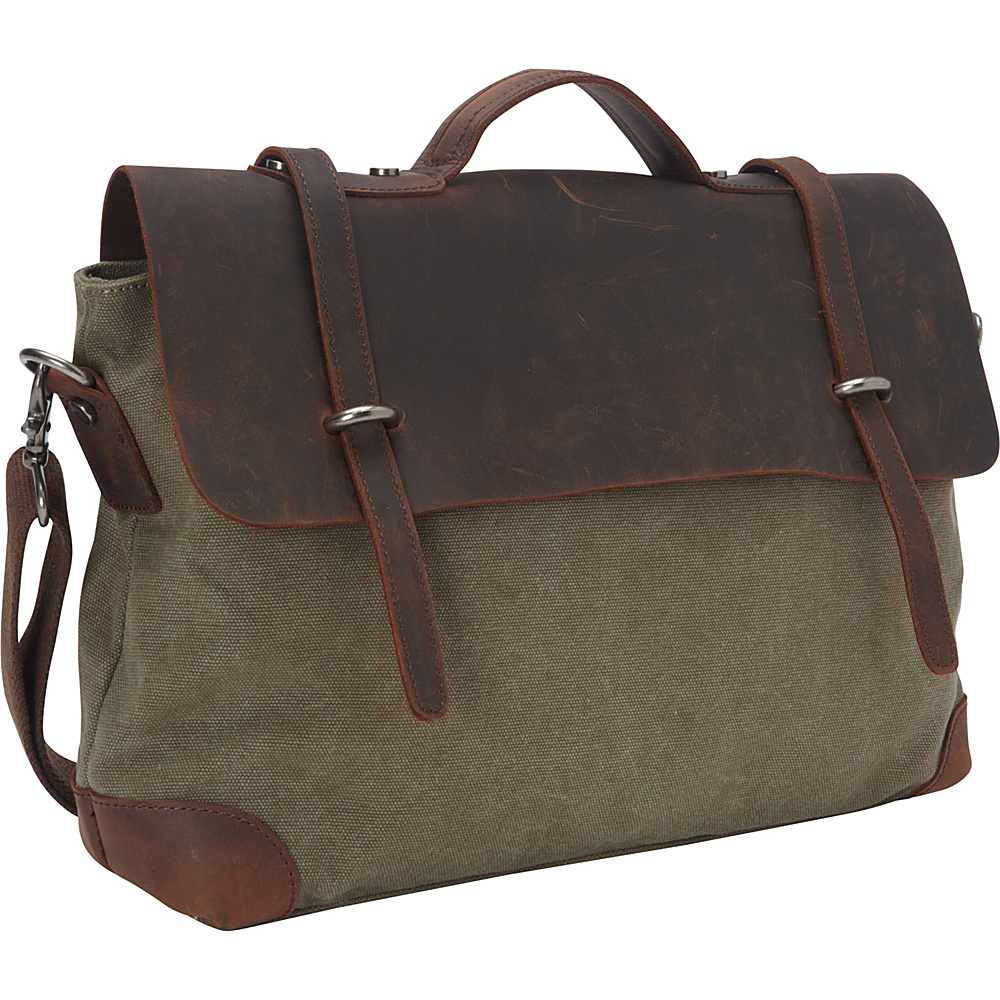 Vagabond Traveler Casual Style Cowhide Leather Cotton Canvas Messenger Bag Military Green - Vagabond Traveler Messenger Bags - Work Bags & Briefcases, Messenger Bags