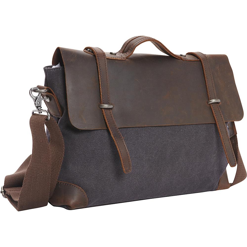 Vagabond Traveler Casual Style Cowhide Leather Cotton Canvas Messenger Bag Grey - Vagabond Traveler Messenger Bags - Work Bags & Briefcases, Messenger Bags