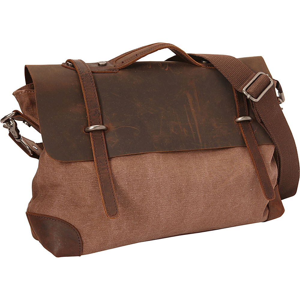 Vagabond Traveler Casual Style Cowhide Leather Cotton Canvas Messenger Bag Coffee Brown - Vagabond Traveler Messenger Bags - Work Bags & Briefcases, Messenger Bags