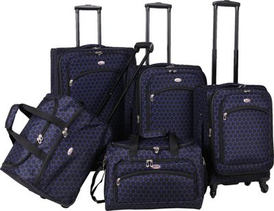 American Flyer Favo Collection 5-Pcs Luggage Set Black Blue - American Flyer Luggage Sets