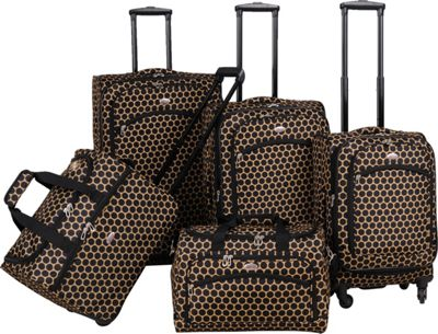 American Flyer Favo Collection 5-Pcs Luggage Set Honey Gold - American Flyer Luggage Sets