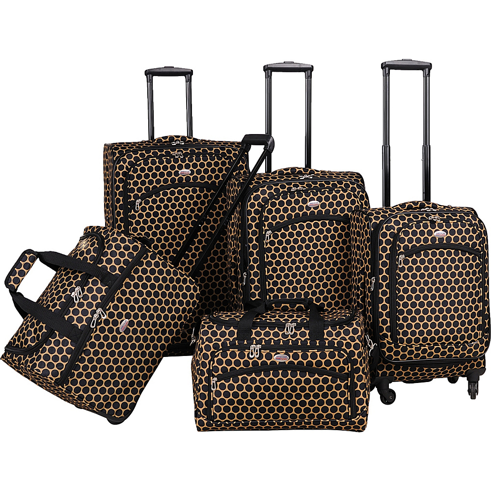 American Flyer Favo Collection 5 Pcs Luggage Set Honey Gold American Flyer Luggage Sets