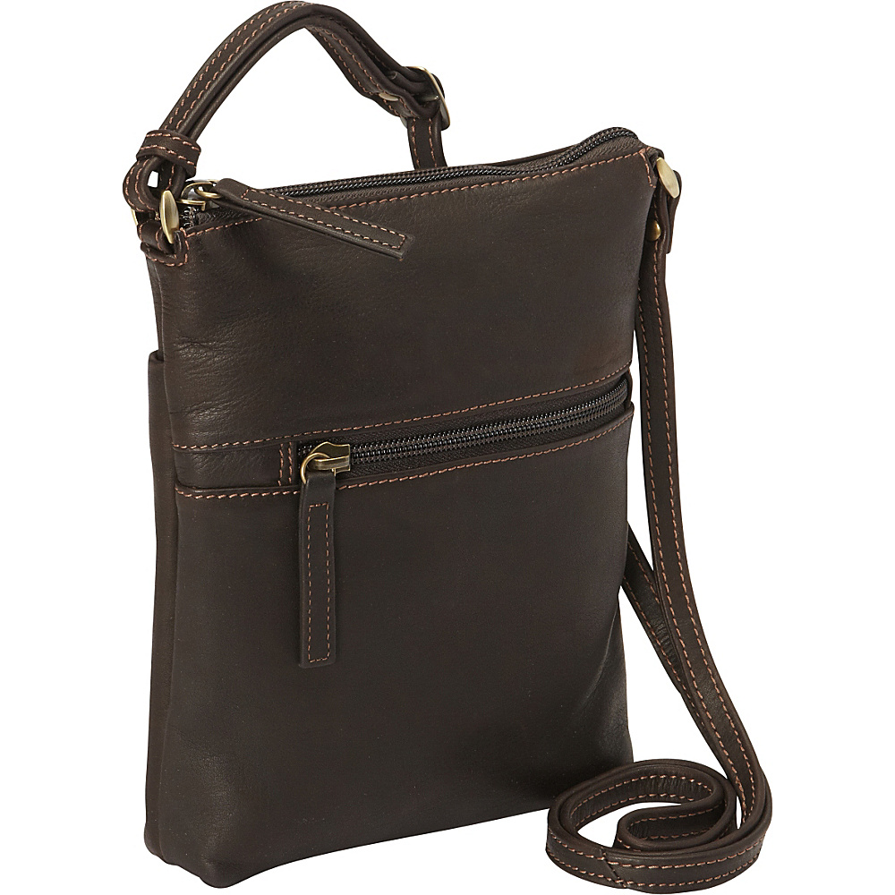 Derek Alexander N/S Slim Top Zip Crossbody Brown - Derek Alexander Leather Handbags - Handbags, Leather Handbags