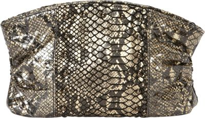 Inge Christopher Mary Beth Leather Clutch Black Natural - Inge Christopher Leather Handbags