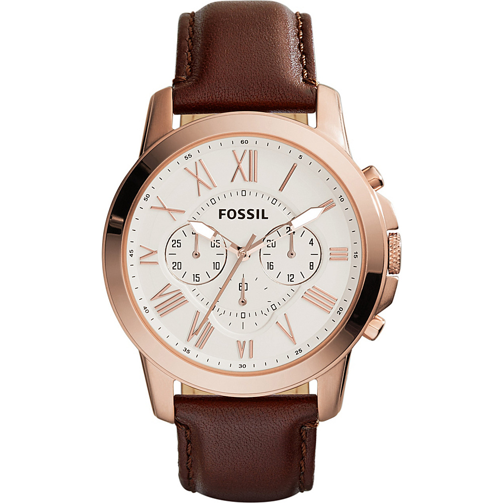 Fossil Grant Chronograph Leather Watch Brown/White - Fossil Watches - Fashion Accessories, Watches