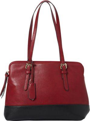 La Diva RFID Trattoria Shoulder Bag - Exclusive Merlot/Black - La Diva Manmade Handbags