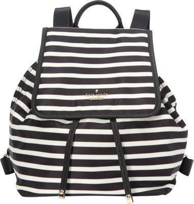 kate spade new york Classic Nylon Molly Backpack Handbag Black/Clotted Cream - kate spade new york Designer Handbags