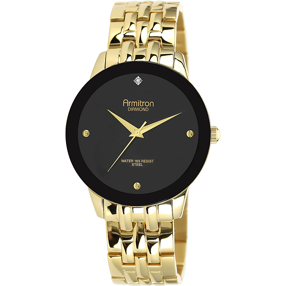 Armitron Men s Gold Diamond Dial Black Dial Gold Armitron Watches