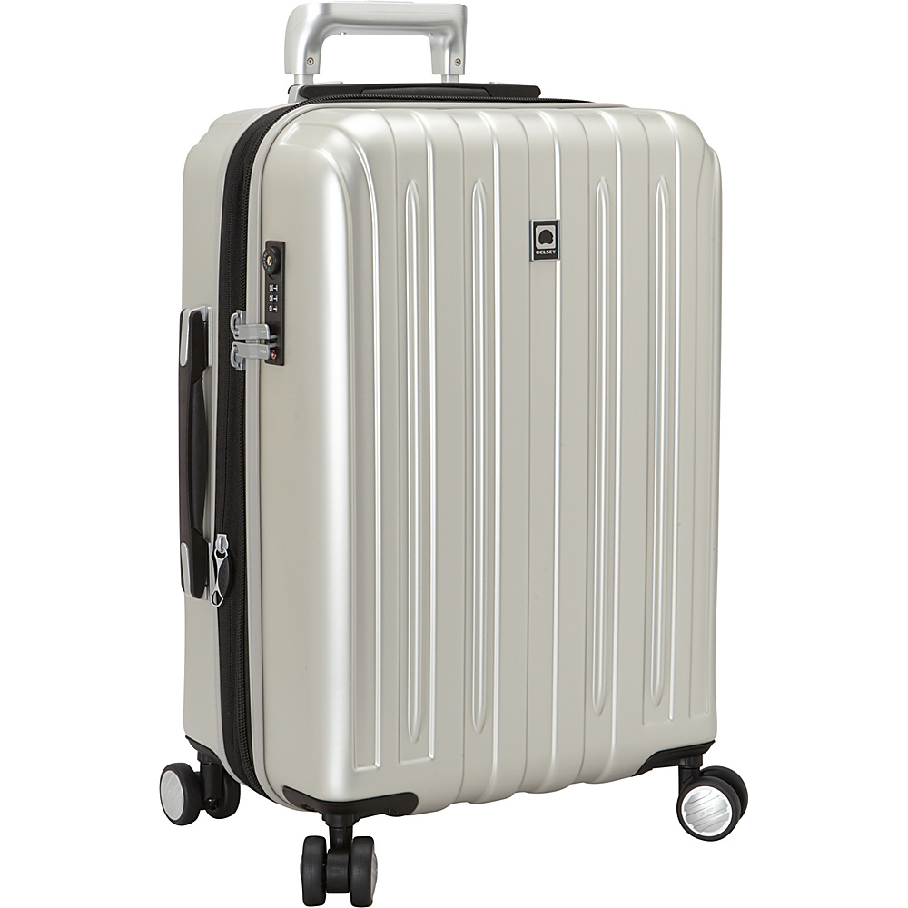Delsey Helium Titanium Carry On Expandable Spinner Trolley Silver Delsey Hardside Carry On