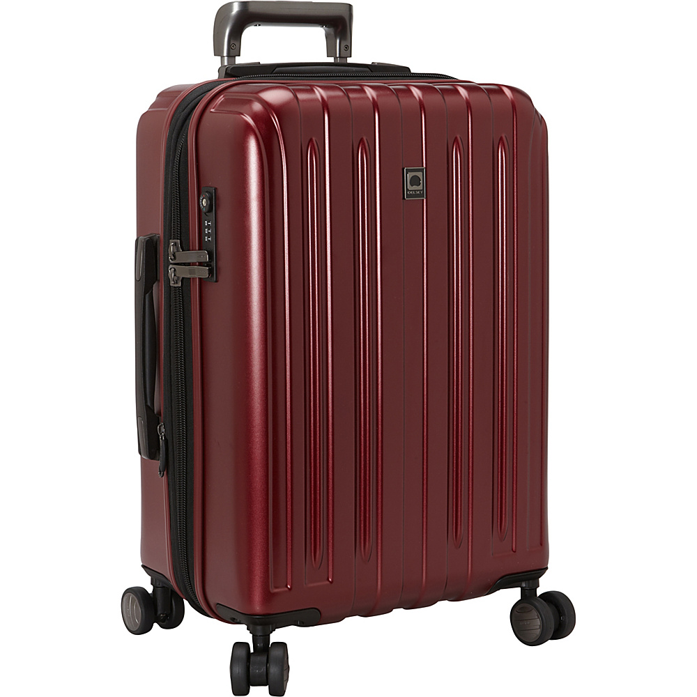 Delsey Helium Titanium Carry On Expandable Spinner Trolley Black Cherry Delsey Hardside Carry On
