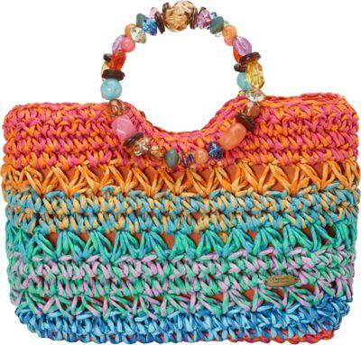 Cappelli Crochet Toyo Ring Handle Bright - Cappelli Straw Handbags