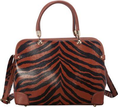 SW Global Brook  Zebra Print Satchel Dark Khaki - SW Global Manmade Handbags