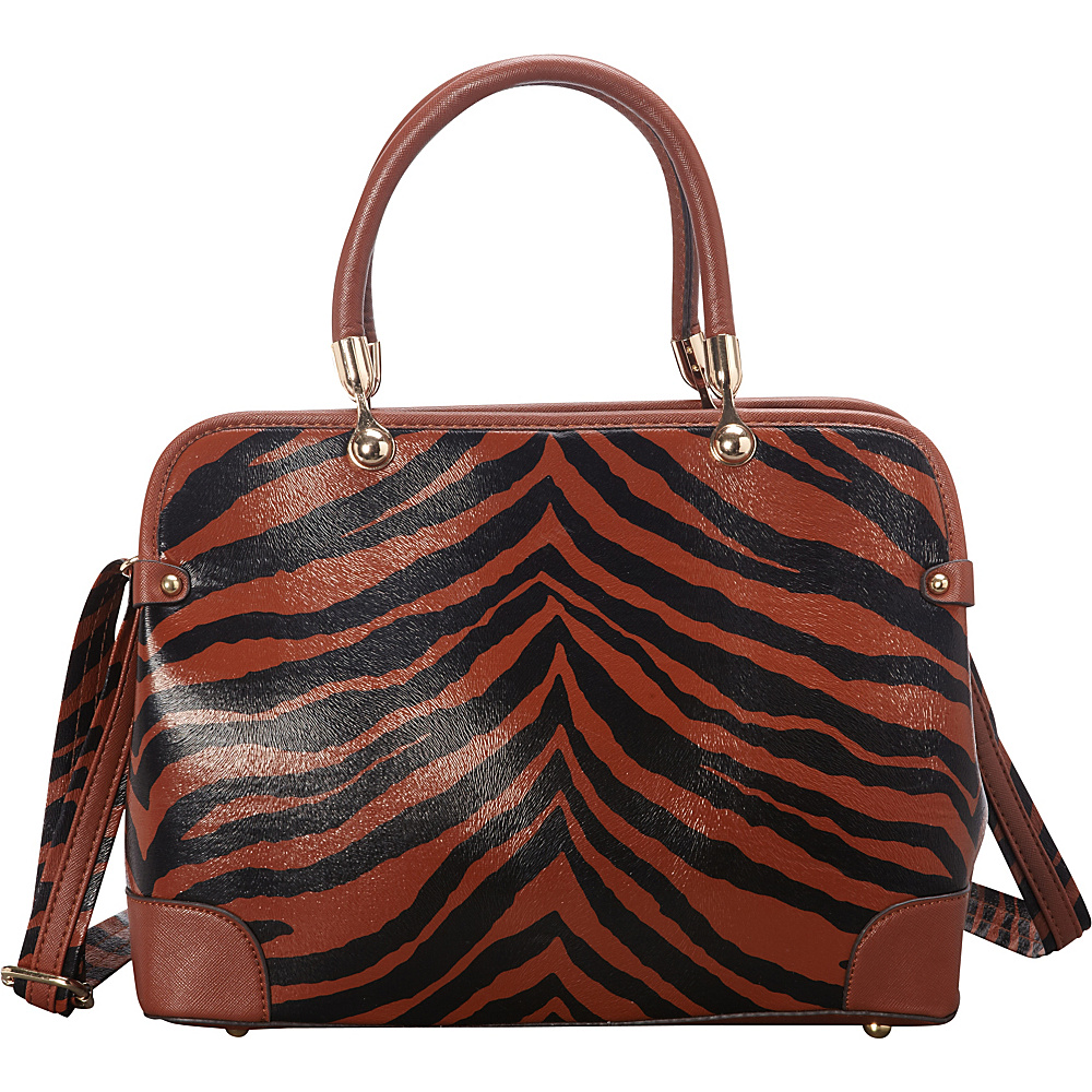 SW Global Brook  Zebra Print Satchel Dark Khaki - SW Global Manmade Handbags - Handbags, Manmade Handbags
