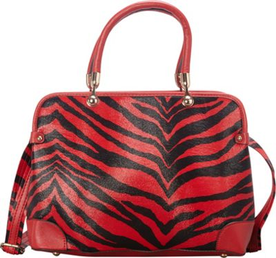 SW Global Brook  Zebra Print Satchel Red - SW Global Manmade Handbags
