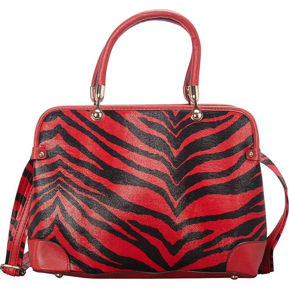 SW Global Brook  Zebra Print Satchel Red - SW Global Manmade Handbags - Handbags, Manmade Handbags