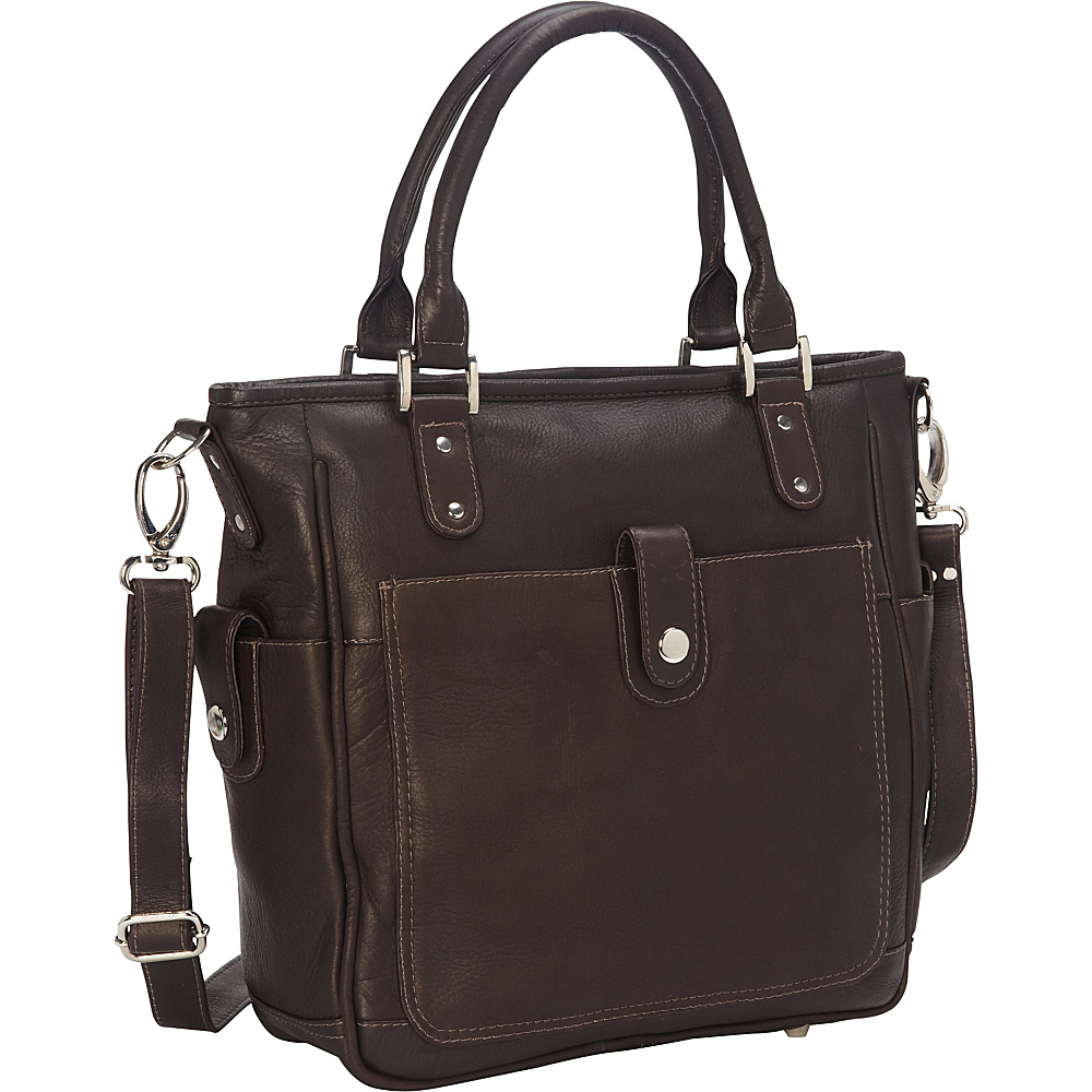 Piel Tablet Shoulder Bag/Cross Body Chocolate - Piel Leather Handbags - Handbags, Leather Handbags