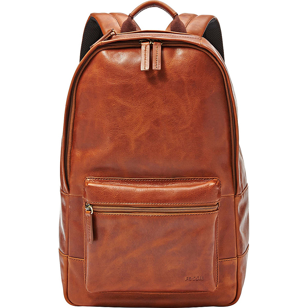 Fossil Estate Casual Leather Backpack Cognac - Fossil School & Day Hiking Backpacks - Backpacks, School & Day Hiking Backpacks