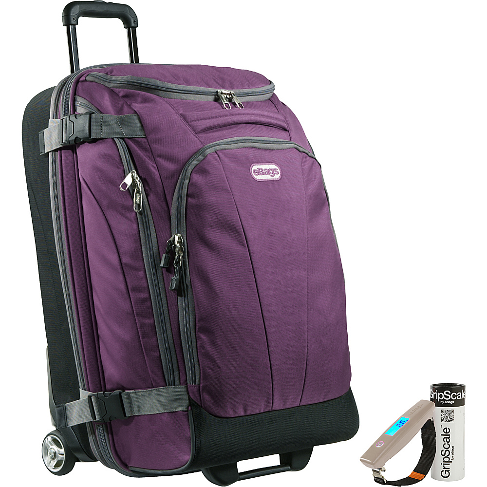 "eBags Value Set: Gripscale Digital Luggage Scale + TLS Junior 25"" Wheeled Duffel Eggplant - eBags Rolling Duffels"
