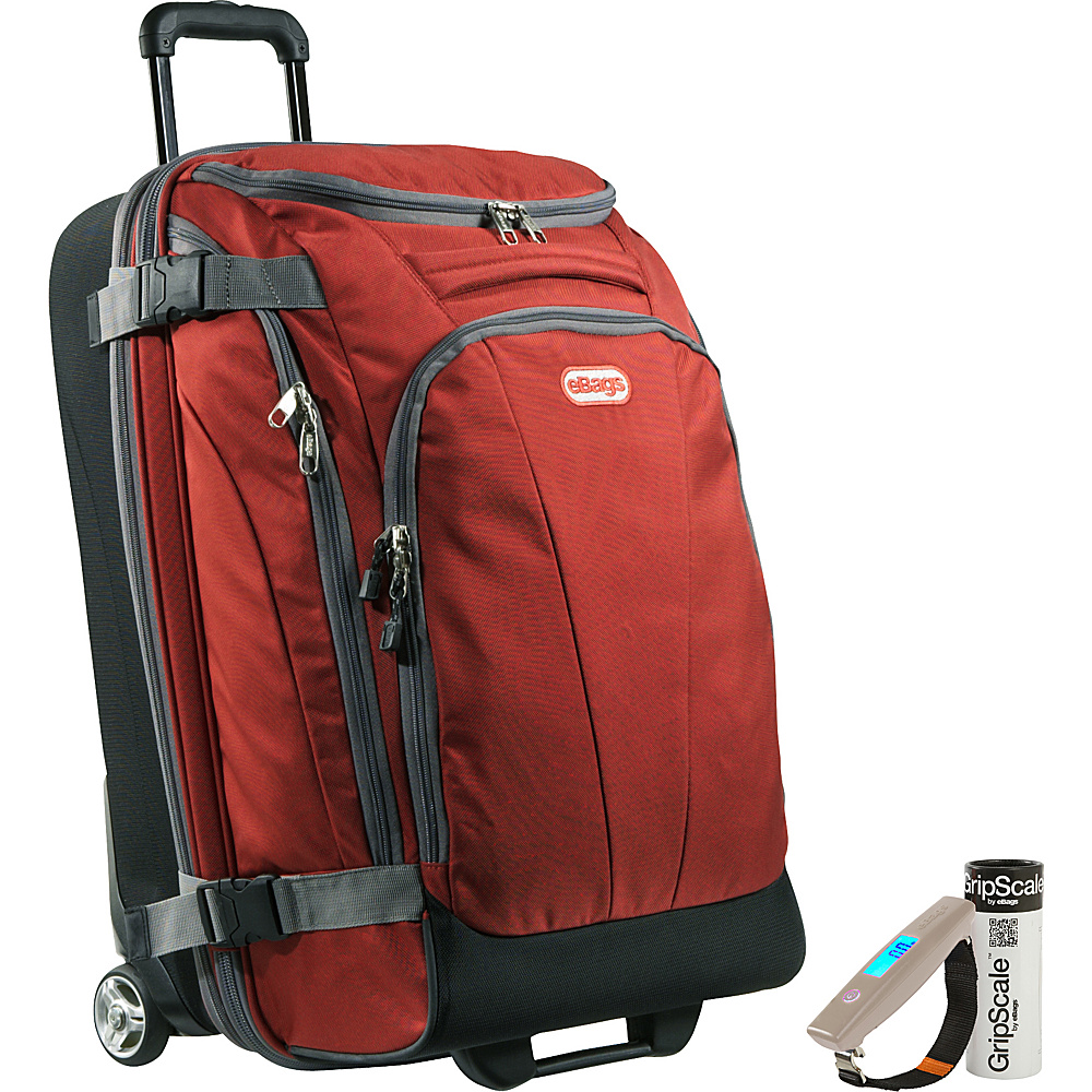 "eBags Value Set: Gripscale Digital Luggage Scale + TLS Junior 25"" Wheeled Duffel Sinful Red - eBags Rolling Duffels"