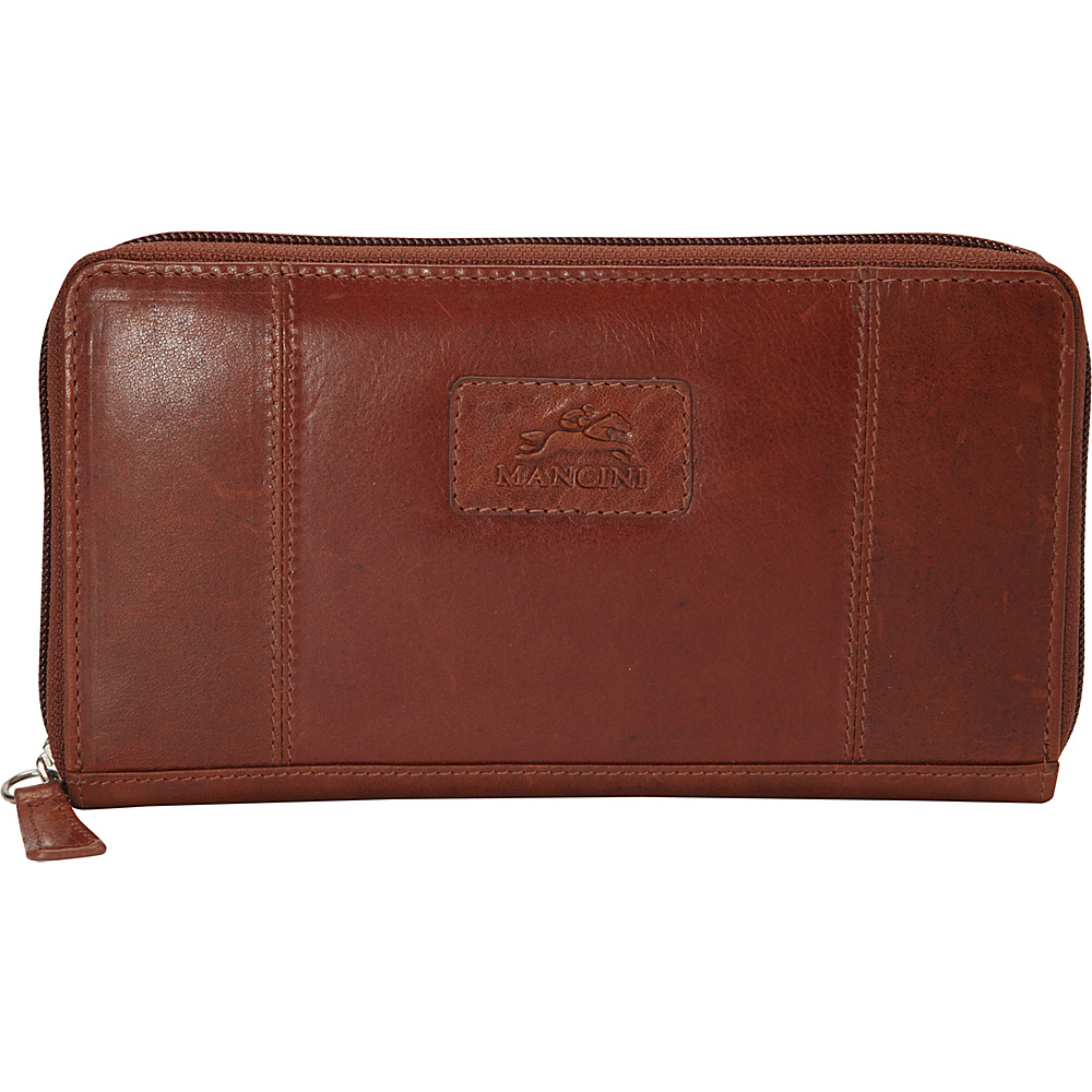 Mancini Leather Goods Ladies RFID Clutch Wallet Cognac Mancini Leather Goods Women s Wallets
