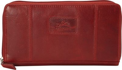 Mancini Leather Goods Casablanca Collection: Ladies Medium RFID Clutch Wallet Red - Mancini Leather Goods Women's Wallets