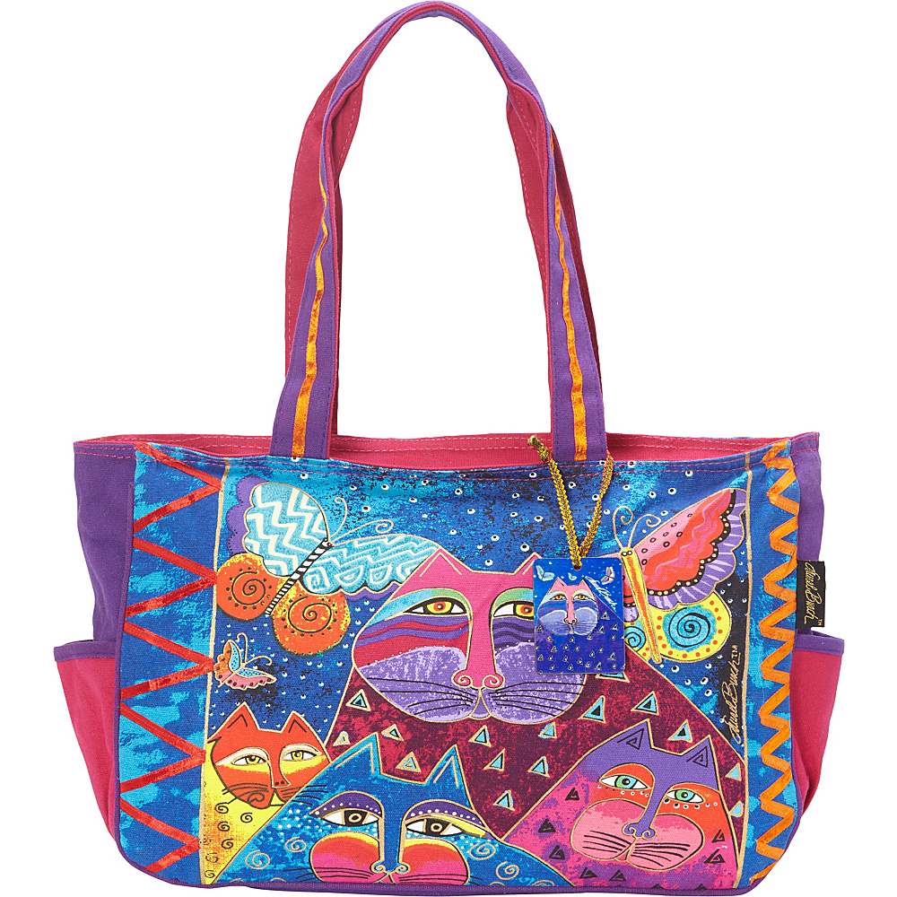 Laurel Burch Cats with Butterflies Shoulder Bag Multi Laurel Burch Fabric Handbags