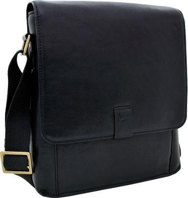 Hidesign Aiden Medium Leather Messenger Crossbody Bag Black - Hidesign Messenger Bags