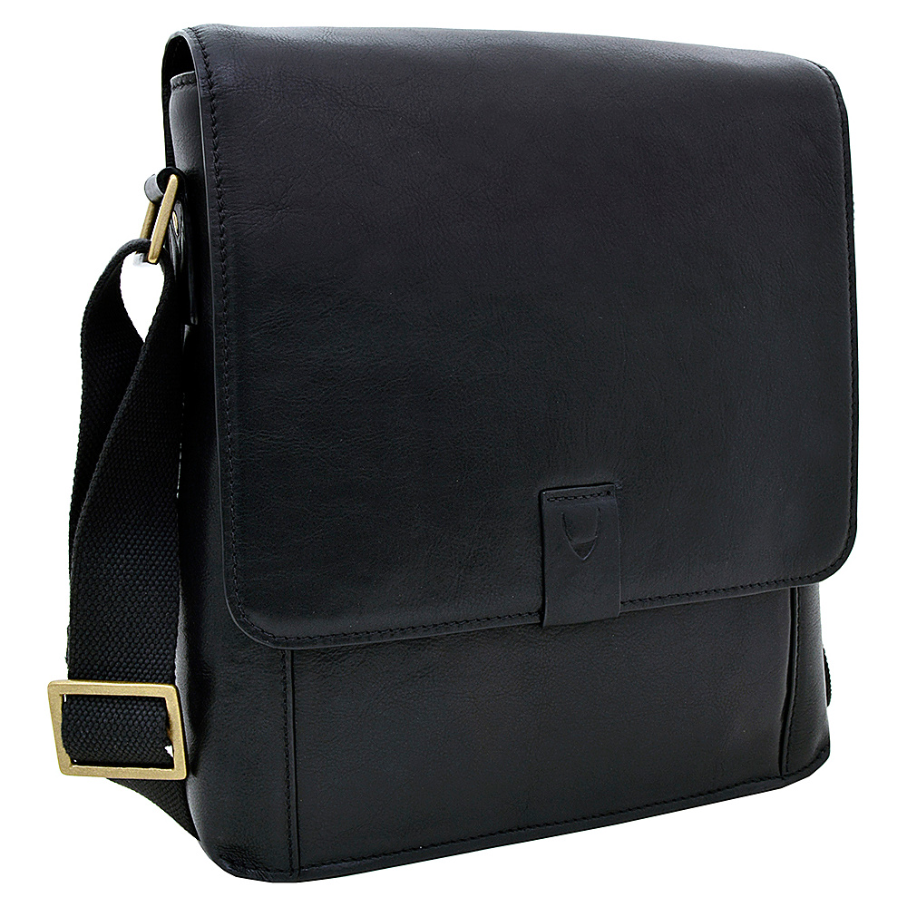 Hidesign Aiden Medium Leather Messenger Crossbody Bag Black Hidesign Messenger Bags