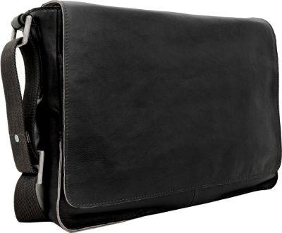 Hidesign Fred Leather Business Laptop Messenger Crossbody Bag Black - Hidesign Messenger Bags