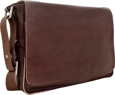 Hidesign Fred Leather Business Laptop Messenger Crossbody Bag Brown - Hidesign Messenger Bags