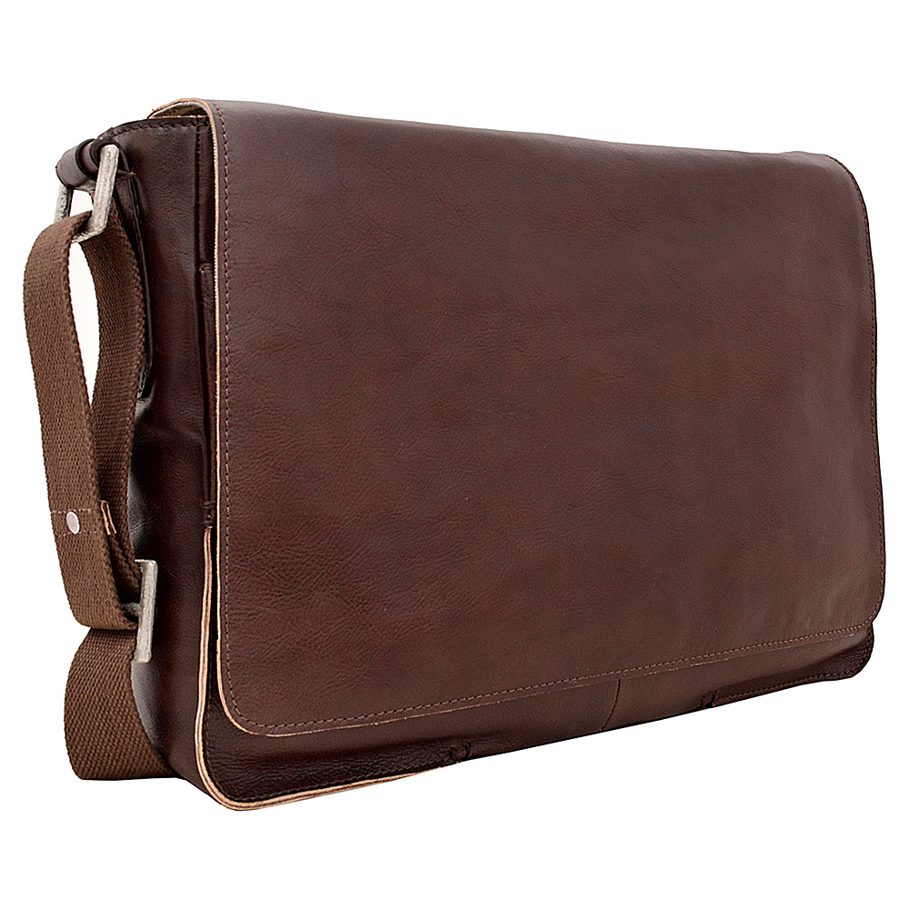 Hidesign Fred Leather Business Laptop Messenger Crossbody Bag Brown Hidesign Messenger Bags