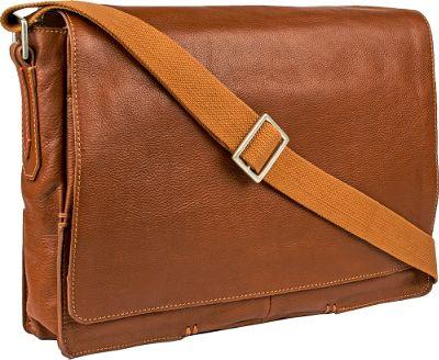 Hidesign Fred Leather Business Laptop Messenger Crossbody Bag Tan - Hidesign Messenger Bags