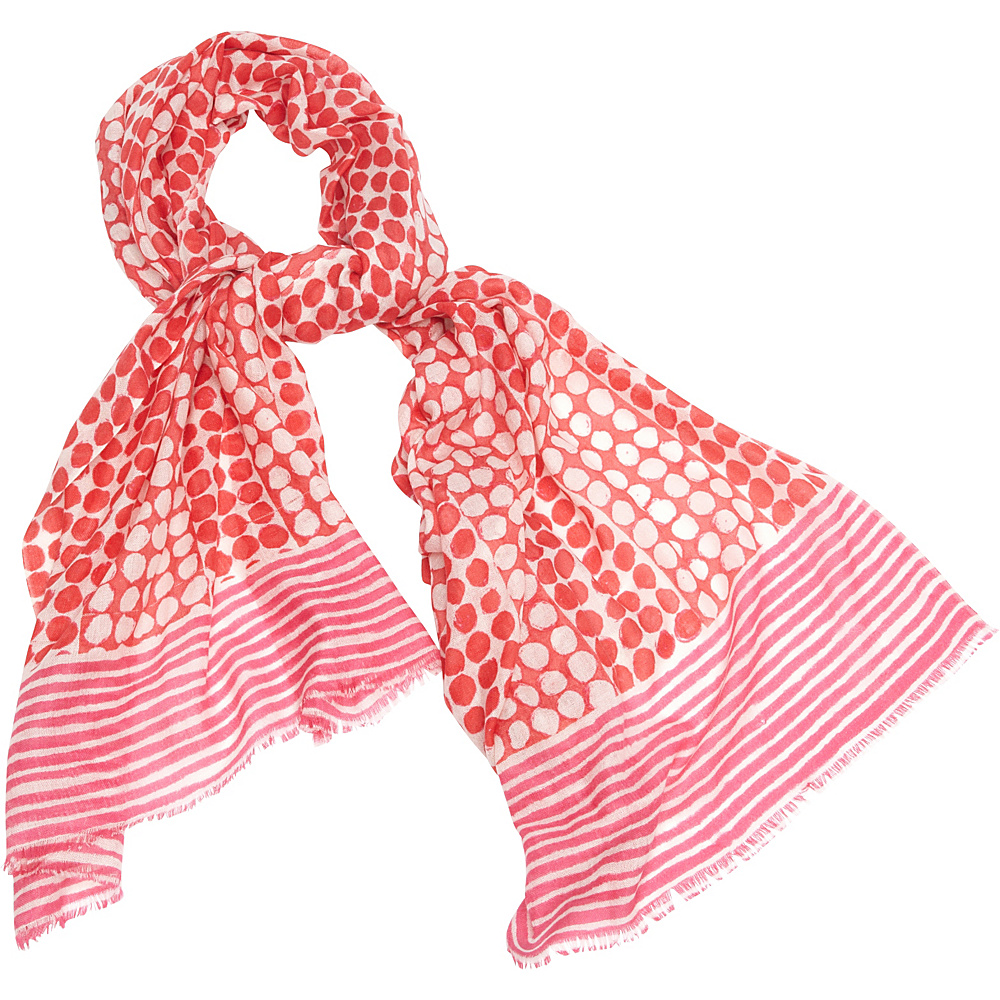Kinross Cashmere Dots & Stripes Print Scarf Coral Reef Multi - Kinross Cashmere Hats/Gloves/Scarves - Fashion Accessories, Hats/Gloves/Scarves