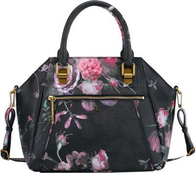 Elliott Lucca Faro City Satchel Black Rose Floral - Elliott Lucca Designer Handbags