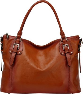 Vicenzo Leather Ryder Leather Shoulder Tote Handbag Brown - Vicenzo Leather Leather Handbags