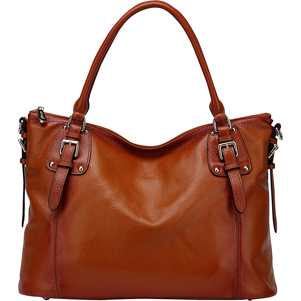 Vicenzo Leather Ryder Leather Shoulder Tote Handbag Brown Vicenzo Leather Leather Handbags