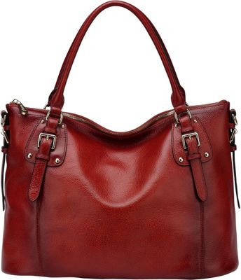 Vicenzo Leather Ryder Leather Shoulder Tote Handbag Red - Vicenzo Leather Leather Handbags