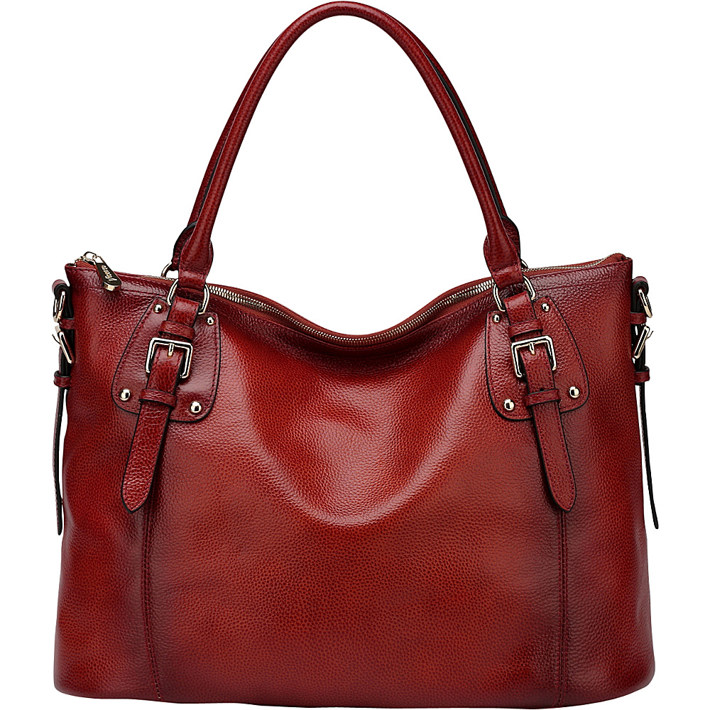 Vicenzo Leather Ryder Leather Shoulder Tote Handbag Red Vicenzo Leather Leather Handbags