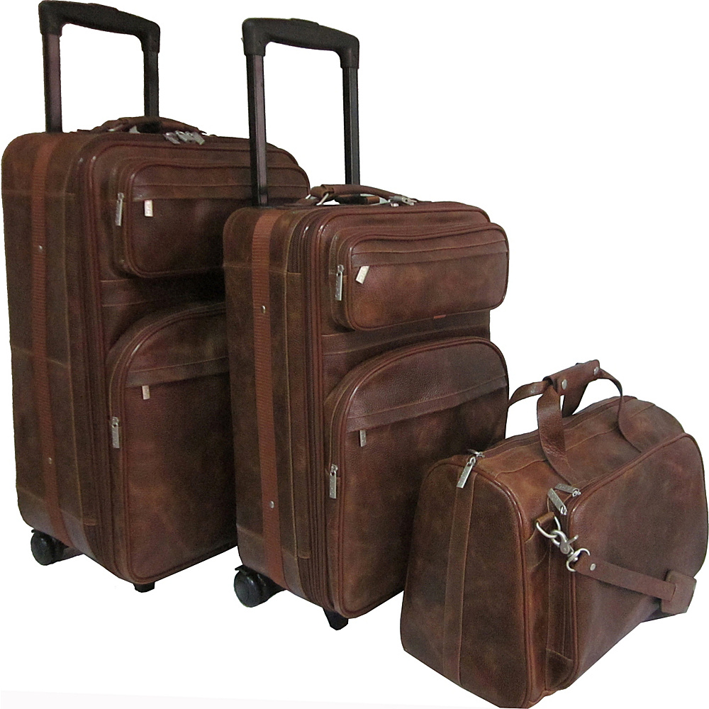 AmeriLeather Leather Three Piece Set Traveler Waxy Brown - AmeriLeather Luggage Sets - Luggage, Luggage Sets