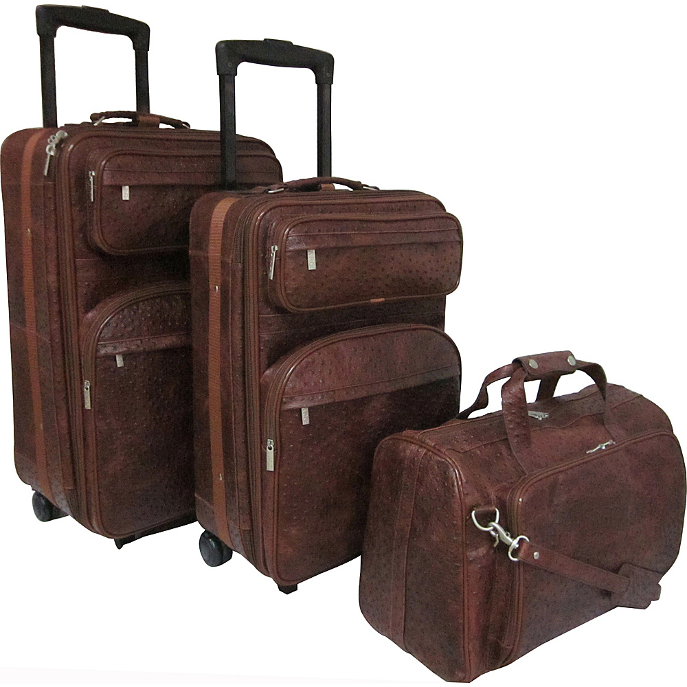 AmeriLeather Leather Three Piece Set Traveler Brown Ostrich Print - AmeriLeather Luggage Sets