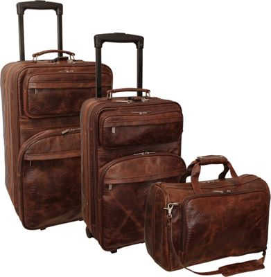 AmeriLeather Leather Three Piece Set Traveler Brown Pebble - AmeriLeather Luggage Sets