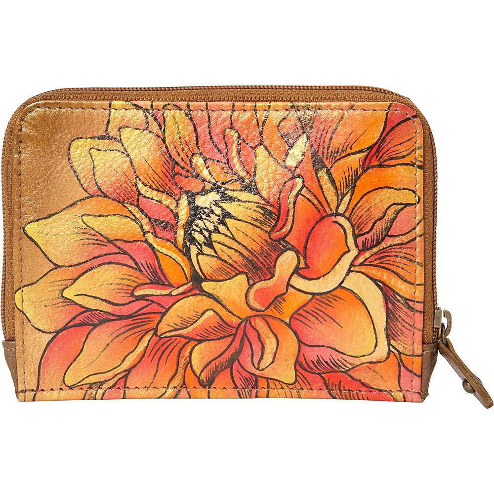 Anuschka Zip Around Credit Card Case Dreamy Dahlias Bronze (DRD-BZ) - Anuschka Women's Wallets