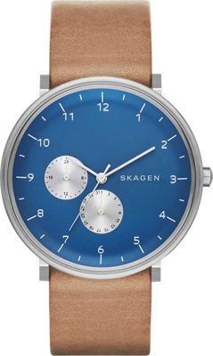 Skagen Hald Mens Leather Multifunction Watch Brown/Blue - Skagen Watches