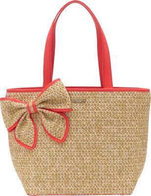 kate spade new york Belle Placa Straw Summer Tote Natural/Geranium - kate spade new york Designer Handbags
