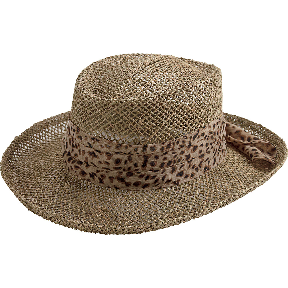 San Diego Hat Seagrass Gambler Hat with Poly Chiffon Band Animal San Diego Hat Hats Gloves Scarves