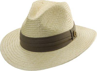 Tommy Bahama Headwear Panama Safari Hat with 3 Pleat Band S/M - Taupe - Tommy Bahama Headwear Hats/Gloves/Scarves