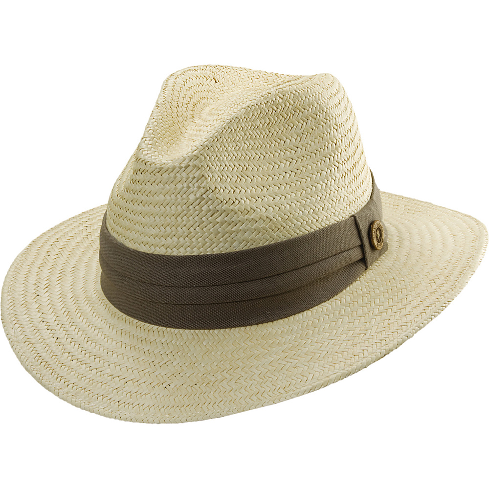 Tommy Bahama Headwear Panama Safari Hat with 3 Pleat Band S/M - Taupe - Tommy Bahama Headwear Hats/Gloves/Scarves