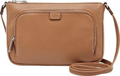 Fossil Riley Mini Crossbody Bag Camel - Fossil Leather Handbags