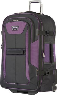 Travelpro T-Pro Bold 2.0 28 inch Expandable Rollaboard Black & Purple - Travelpro Softside Checked